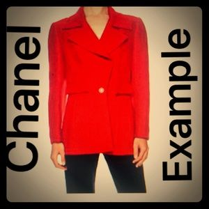 CHANEL (Vintage) Red Blazer Coat Jacket Authentic.